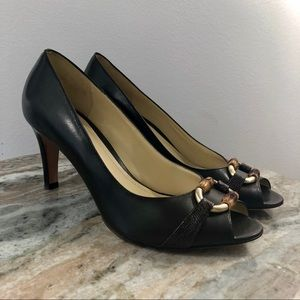 Ann Taylor Pumps Brown Sz 7.5 Peep Toe Shoes